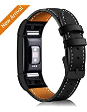 Hotodeal Strap Compatible Charge 2, Classic Genuine Leather Wristband Metal Connectors, Fitness Strap for Women Men, Small Large