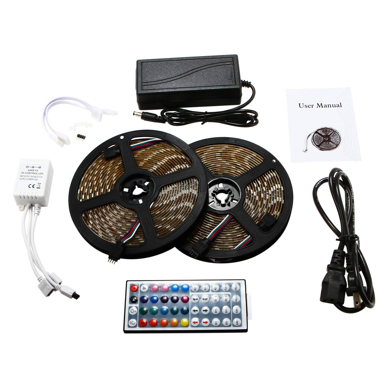 Led Light Strip DC12V SMD 5050 32.8 Ft (10M) 600leds RGB 60leds/m with 44 Key Ir Controller Kitchen Bedroom and Sitting Room LED Strip Lights (Waterproof) and 12V 6A Power Supply