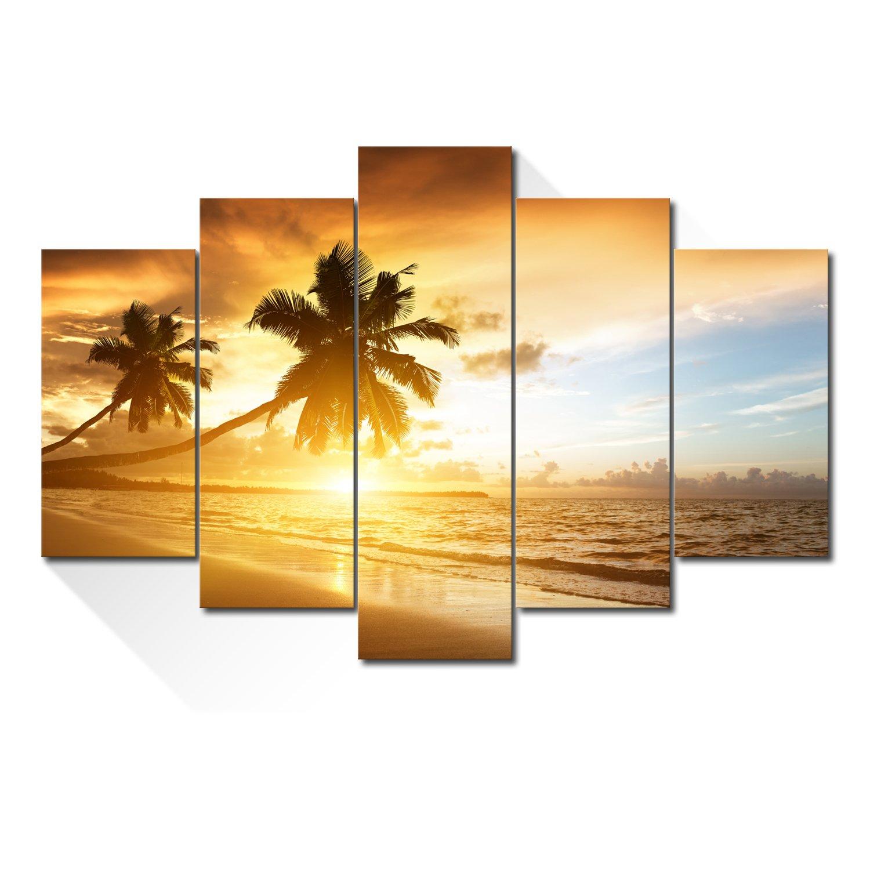 Royllent アートパネル 5パネルセット「夕日の砂浜ココやし」キャンバス絵画 B01M07LW1Z E E