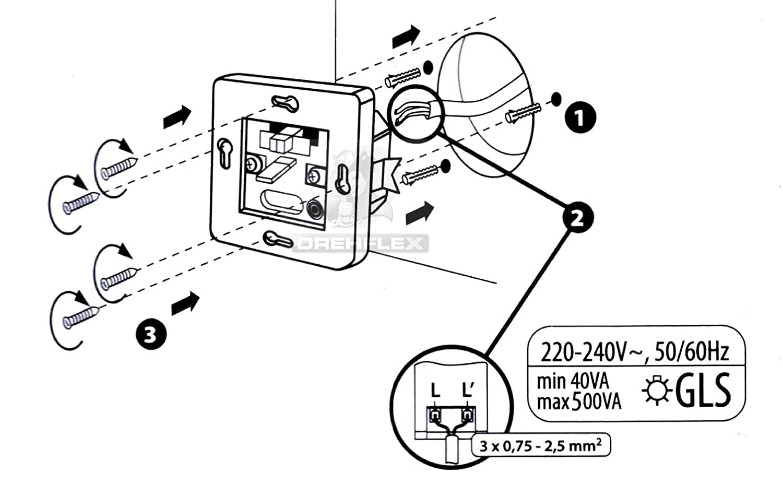 Drehflex® Einbau Wand Bewegungsmelder 2 Draht-Technik UP für 220 ...
