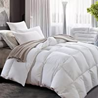 ROYALAY Luxurious All Seasons Lightweight White Goose Down Comforter-Solid White Hypo-allergenic Duvet Insert 600 Thread Count 600FP 100% Cotton Shell Down Proof with Tabs