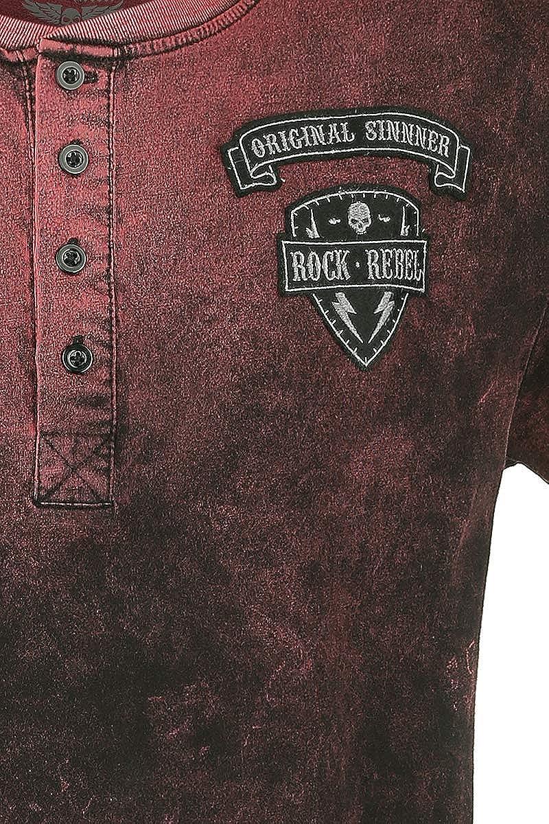 Rock Rebel by EMP Back For More Hombre Camiseta Rojo, Patches Regular: Amazon.es: Ropa y accesorios