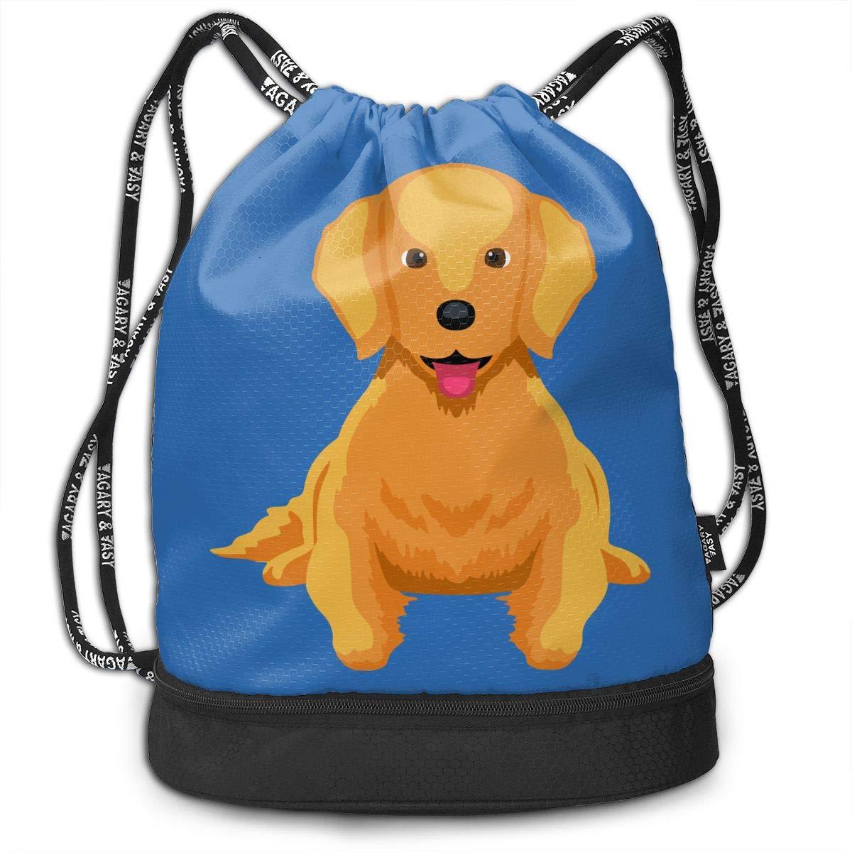 Cartoon Golden Retriever 7 Men//Women Drawstring Pack Beam Mouth Sports Sackpack Shoulder Bags
