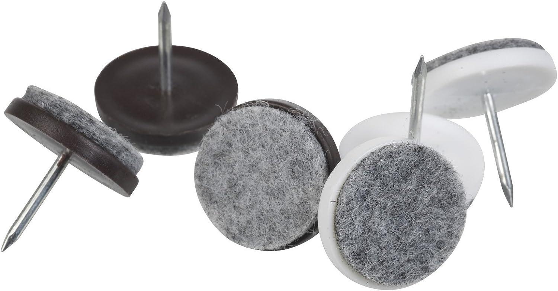Patins de Meubles pour Protection Pied de Chaise//Table Plancher Meubles Tabourets en Bois Magiin 40pcs Patins en Feutre avec Clou 18mm, Brun