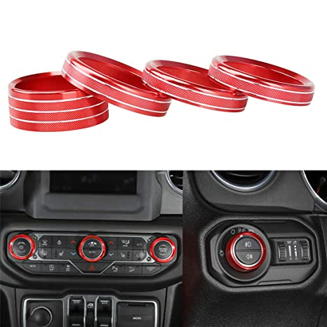 Yoctm For 2018 2019 Jeep Wrangler Jl Interior Trim Kit Parts Accessories Headlight Air Conditioning Switch Knob Button Decoration Cover Ring Red Pack