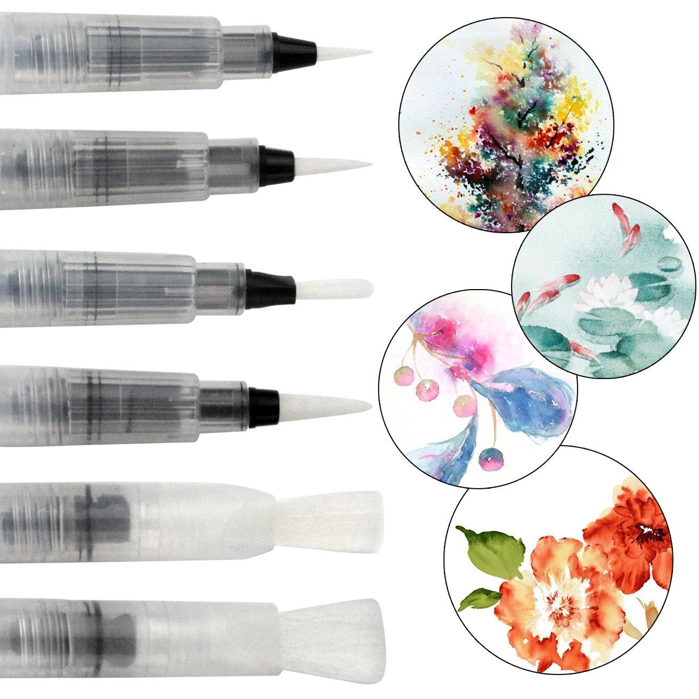 Wasserpinsel Stifte 6 St/ück Water Brush Pen Aquarell Pinsel Pen Wasser Pinsel von Ishua