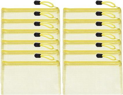 12pcs Chemise Paquet Portefeuille Pochette en PVC Zip Document Dossier A6 //PVC School Office A6 Magazine Document File Zippy Closure Folder Holder Bag A6-Jaune
