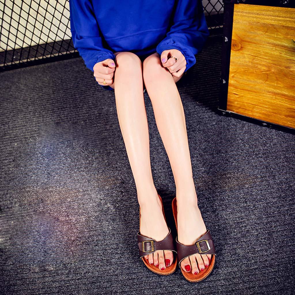 GreatGiftList Womens Leather Sandal Adults Buckles Cork Madrid Rubber Beach Slides Summer Mule Sandals