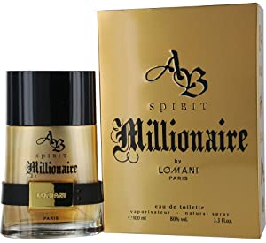 Lomani Ab Spirit Millionaire Eau De Toilette Spray for Men, Gold , 3.3 Ounce