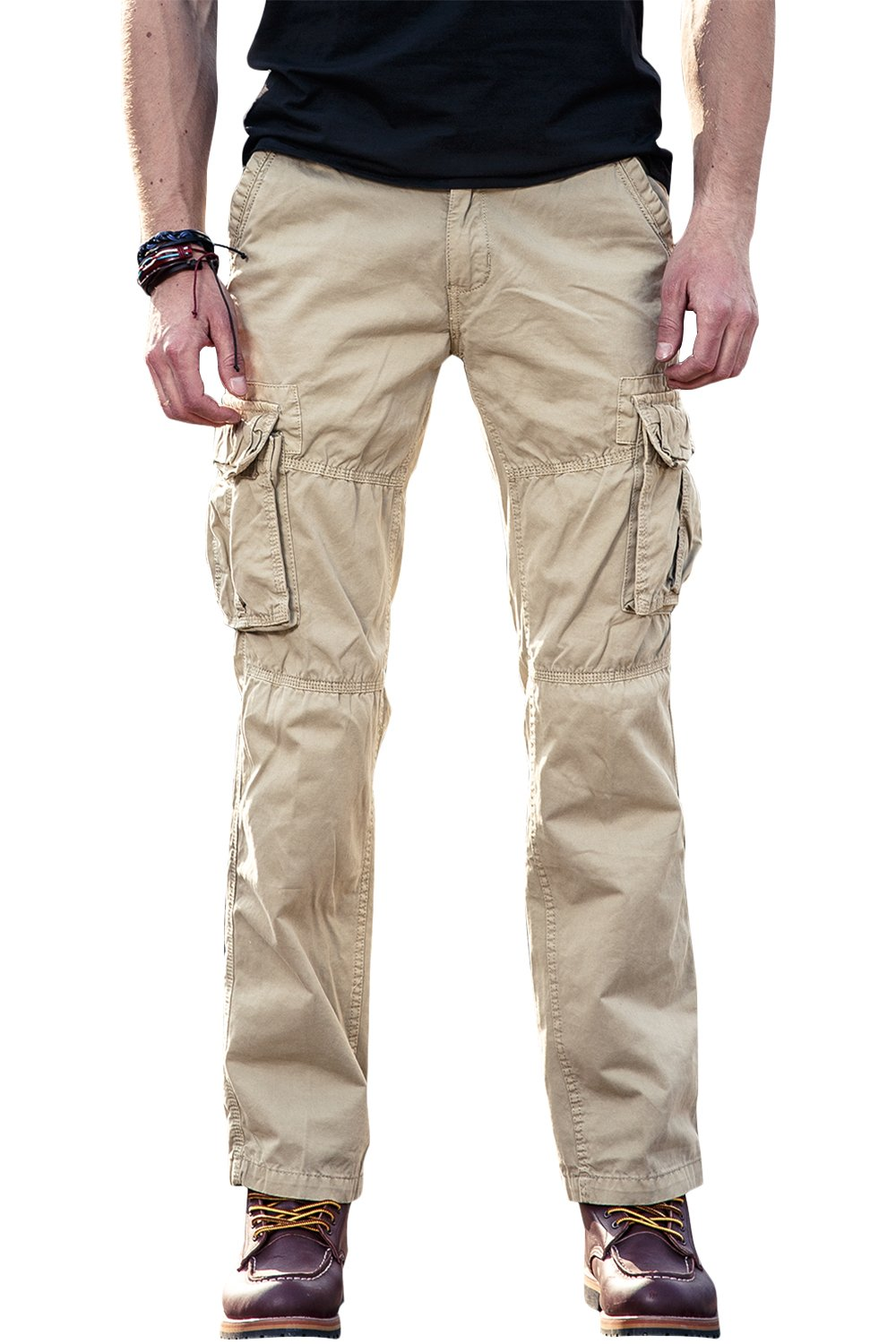 FLY HAWK Men's Chino Cargo Casual Pants Cotton Combat Trousers Multi Pockets Workwear CA3225