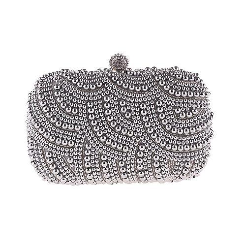 3fde15d3f5 LLUFFY-Clutch Pochette Borsa da donna elegante borsa da sera per le feste borsa  da pochette con perle borsa classica moda messenger bag, 17 * 12 * 4cm, ...