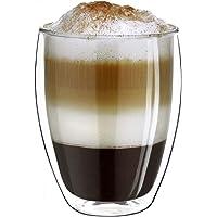 Creano 1 x dubbelväggig termoglas, kaffeglas/borosilikatglas XXL hög | 400 ml