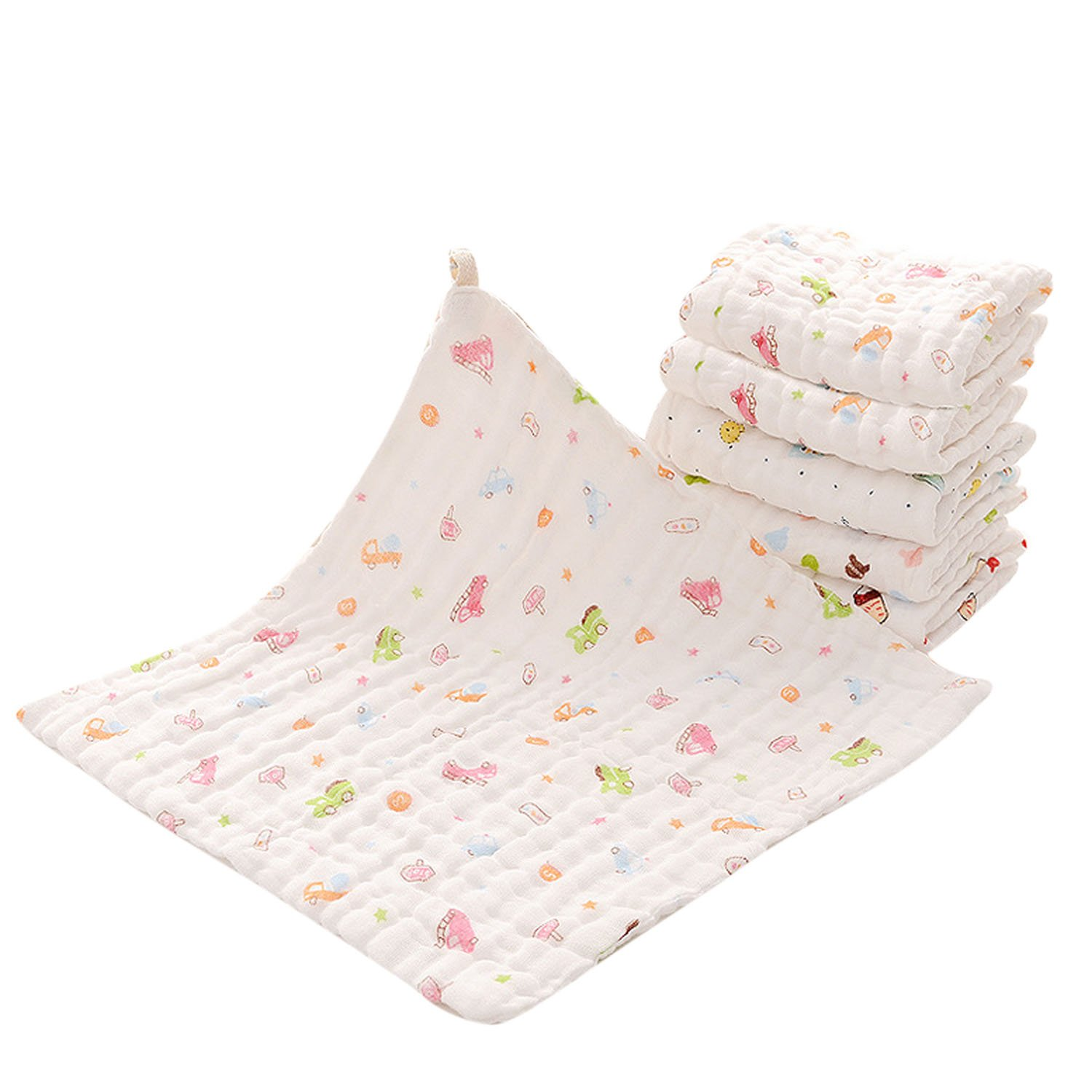 6 PCS Super Soft Cotton Kid Newborn Baby Towel Muslin Face Sweat Saliva Wipe Washcloth 30 x 30cm Random Color Gosear