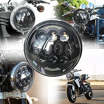 Led Scheinwerfer 80 W 14 Cm 5 75 Zoll Motorrad Lampe Angel Eyes Augen Mit Drl Fernlicht Für Harley Davidson Harley Davidson Auto