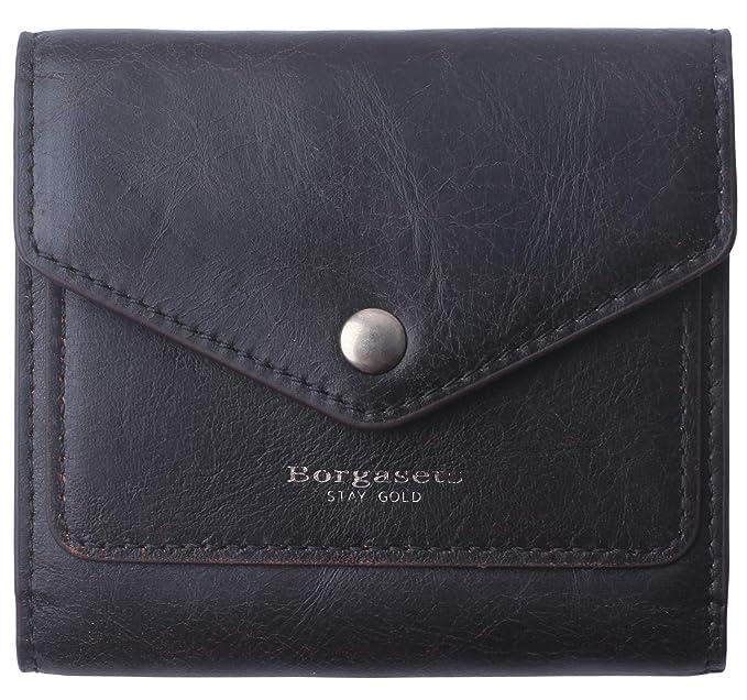 Borgasets Women s RFID Blocking Small Compact Bifold Leather Pocket Wallet  Ladies Mini Purse (Carbon black e81b19201