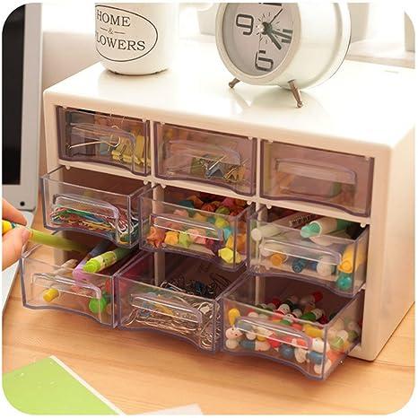 Excelente Plástico 9 enrejados portátiles mini gabinetes de desechos Amall cajón joyería caja de almacenamiento para