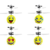 Wembley Toys Smiley Induction Infrared Sensor Ball Different Face, Smiley Helicopter Flying Ball Emoticon Induction Drone Hand Control Aircraft Toy with Colorful Led Lights- Assorted (1 Piece)