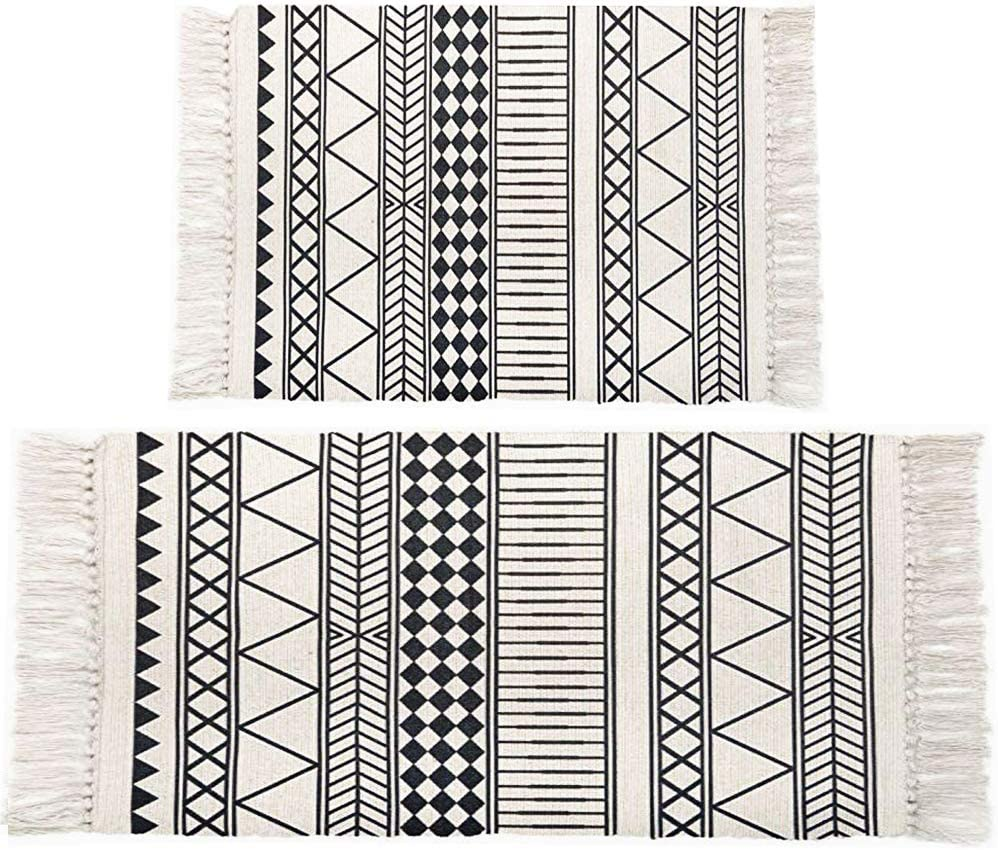 HEBE Cotton Area Rugs Set of 2 Piece 2'x3'+2'x4.2' Machine Washable Printed Black and White Cotton Rug Set with Tassels Hand Woven Cotton Throw Rugs Runners for Kitchen,Living Room, Entry Way