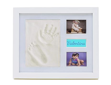 Marco huella bebe pie y mano bebe fotos Ezkull con espacio compartimiento donde guardar recuerdos regalo presente para el bebe recién nacido bautizo ...
