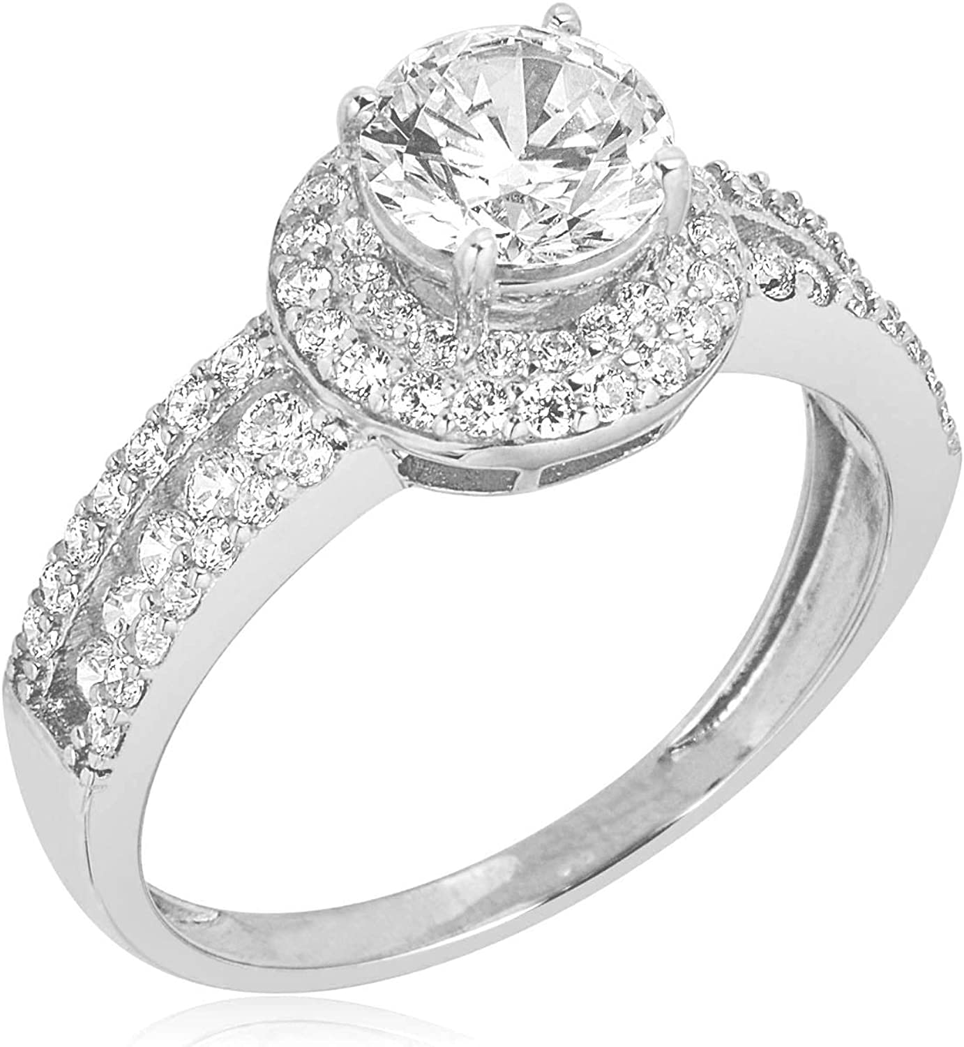 Avora 10k White Gold 1 25 Carat Simulated Diamond Cz Double Frame