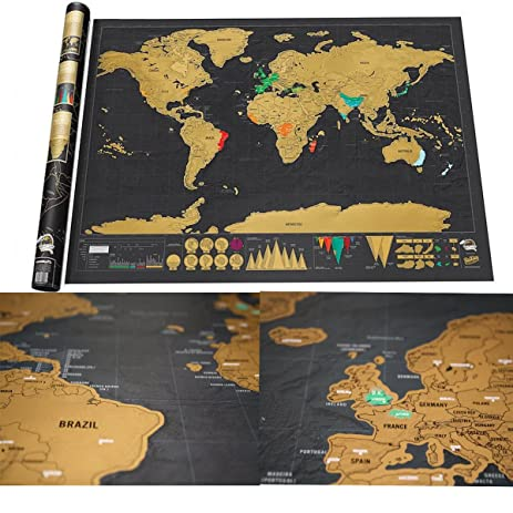 Amazon luxury edition black scrape world map deluxe travel luxury edition black scrape world map deluxe travel scratch world map travel map poster best present gumiabroncs Image collections