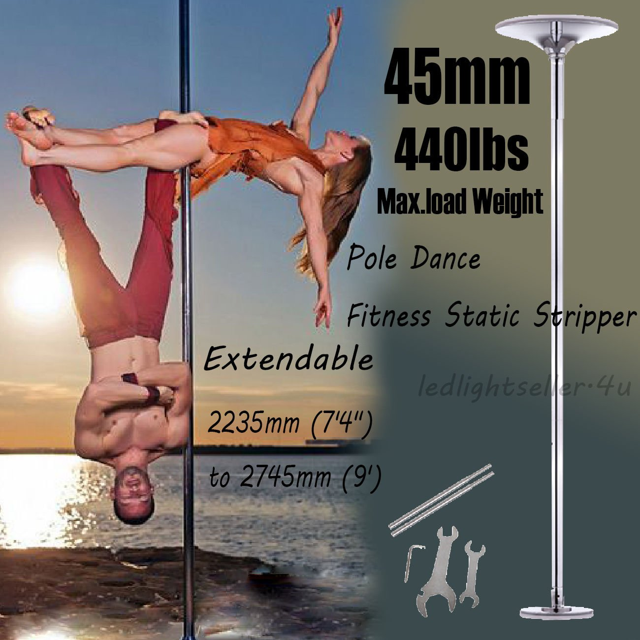 PanelTech Portable 45mm Fitness Exercise Spinning Static Dance Pole Stripper Strip Portable 440lbs by PanelTech