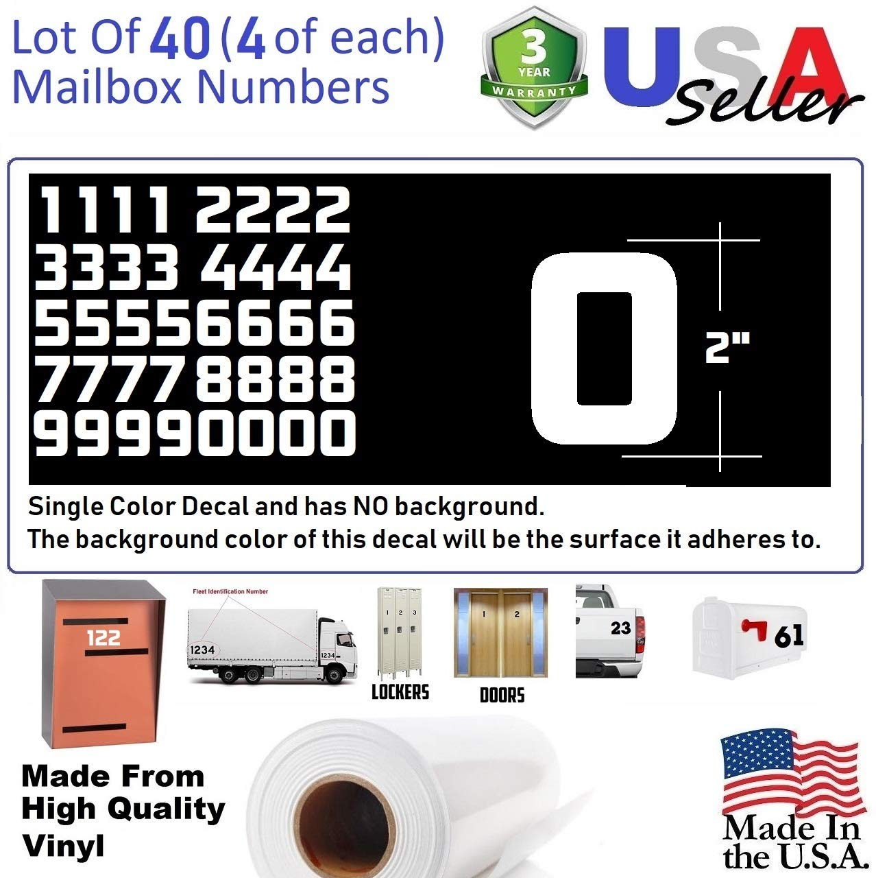2'' White Color Custom Mailbox Numbers, Lot of 40 (4 of each number form 0 to 9) 2 inch tall, white Modern Vinyl Mailbox Numbers,Doors,Tool Box,Locker,Car,Truck,Address Decal Stickers (Konkretika Bold)