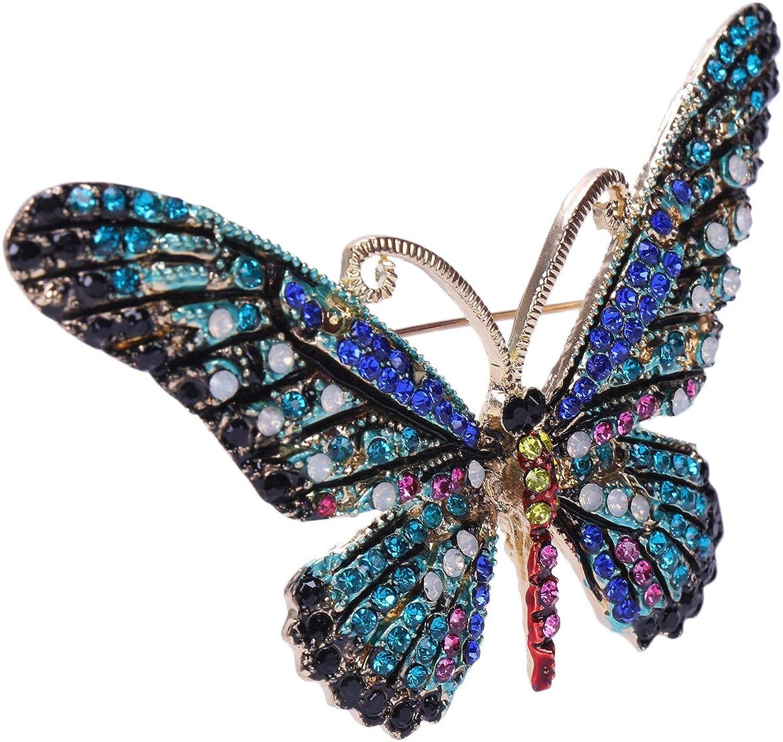SODIAL Noir Broche Papillon Melange de Couleurs Broches en Strass pour Femme Dame Mode Bijoux Boutonniere