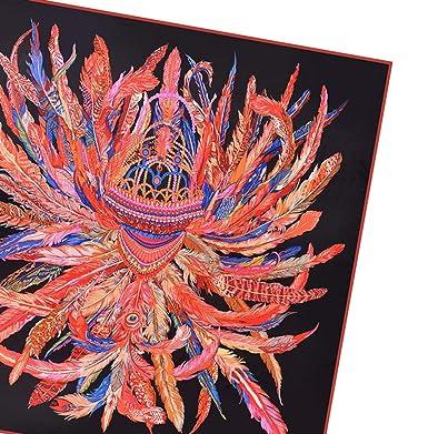 bb7ef779c40 silk square scarf women Feather crown print scarf silk Soft shawls ...