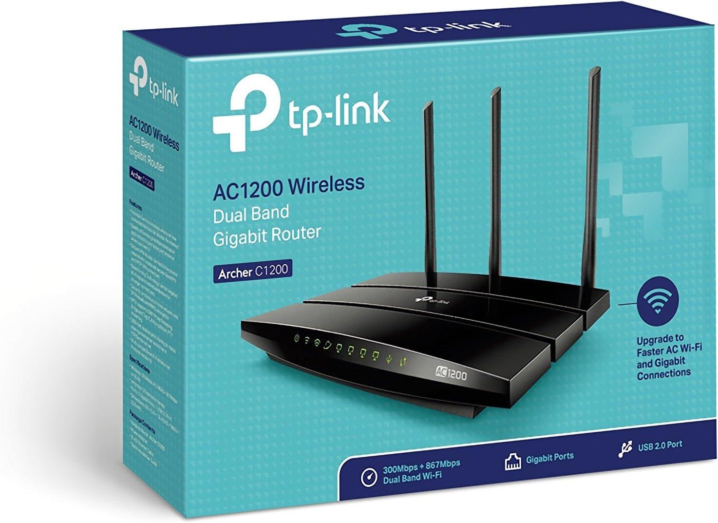 TP-Link Archer C1200 - Router Gigabit inalámbrico de doble banda, 2.4 GHz a 300 Mbps y 5 GHz a 867 Mbps, Gigabit Puerto, USB 2.0, 3 antenas externas ...