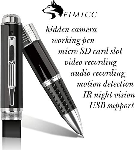 Pen Hidden Camera by fimicc – Portable and Easy to Use – Full HD 1080P Video Resolution – 120 min Battery Life with Continuous Recording – Small Security Camera for Personal Office Home Protection