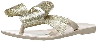 64a3e59ad1848 Mini Melissa Girls  Mel Harmonic Bow III Mary Jane Beige Gold Glitter 1 M US