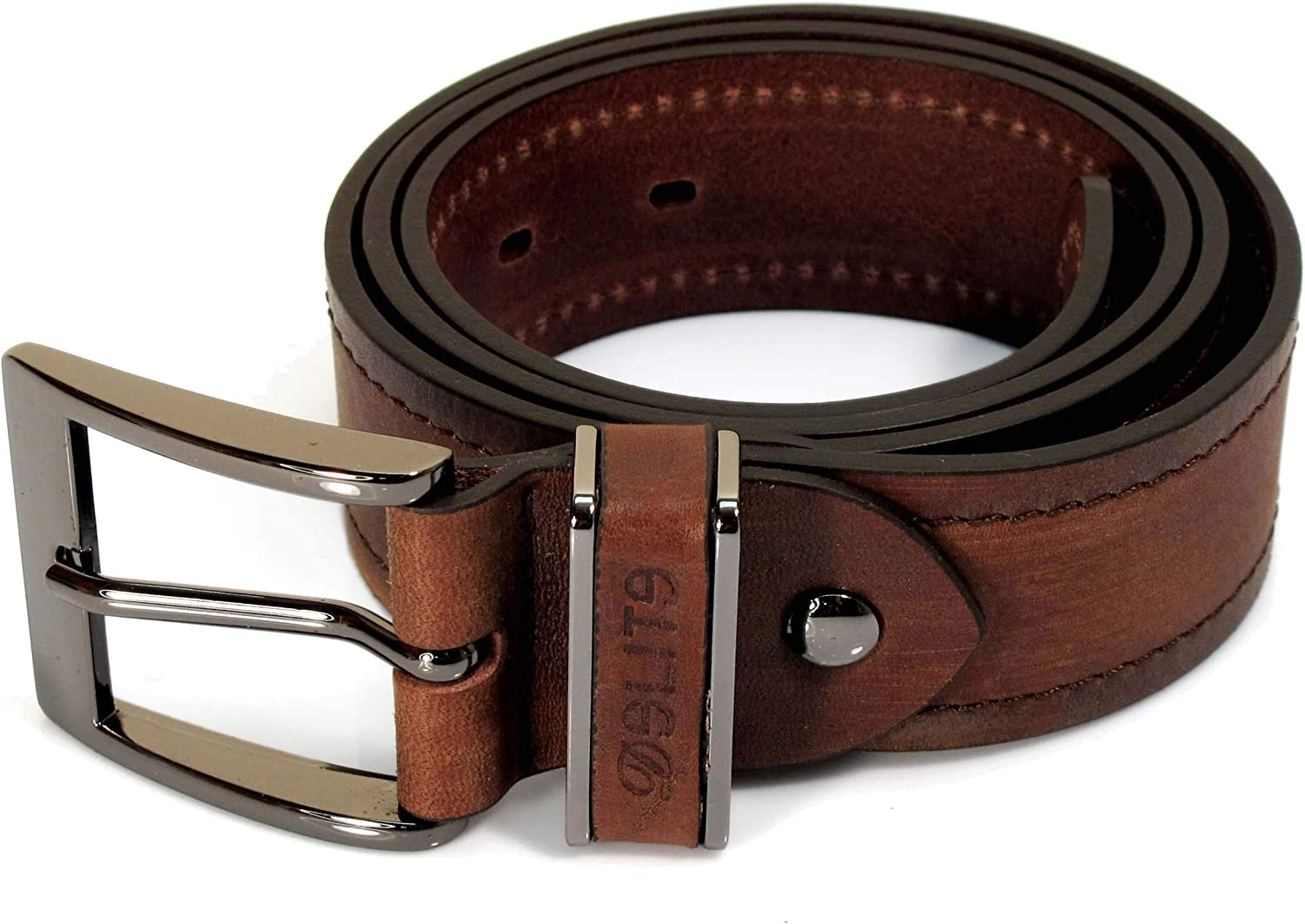 Mens Real Genuine Leather Belt Black Brown White 1.5 Wide S-XL Casual Jeans CU0