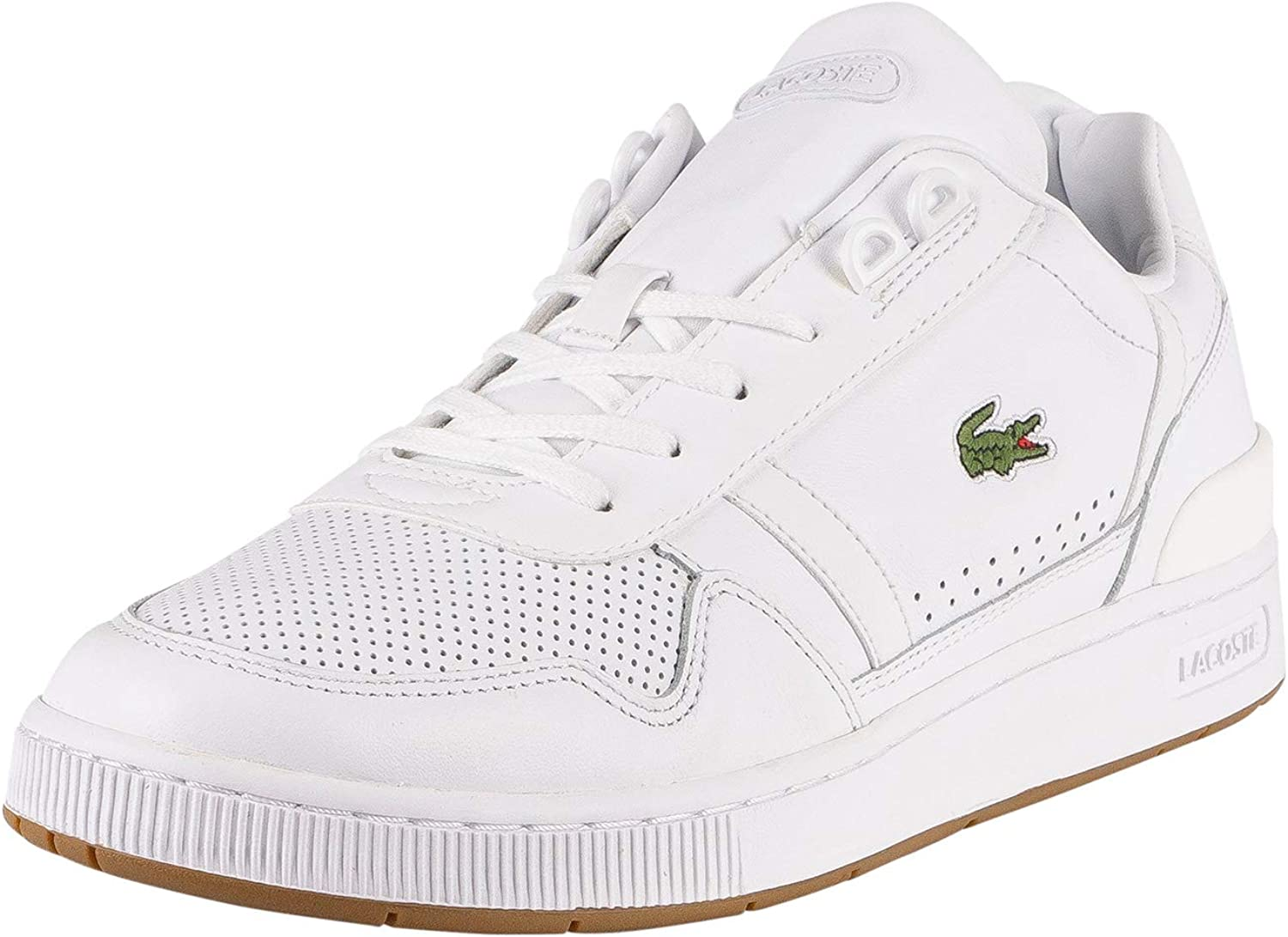 Men/'s Lacoste Thrill Leather Lace up Comfort Trainers in White