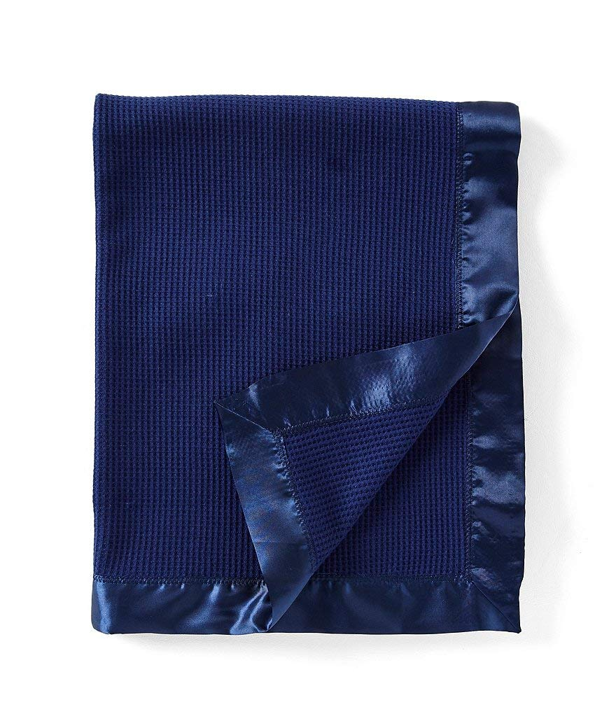 Thermal Waffle Weave Baby Blanket with Satin Nylon Trim (blue) Thermal Baby Blanket