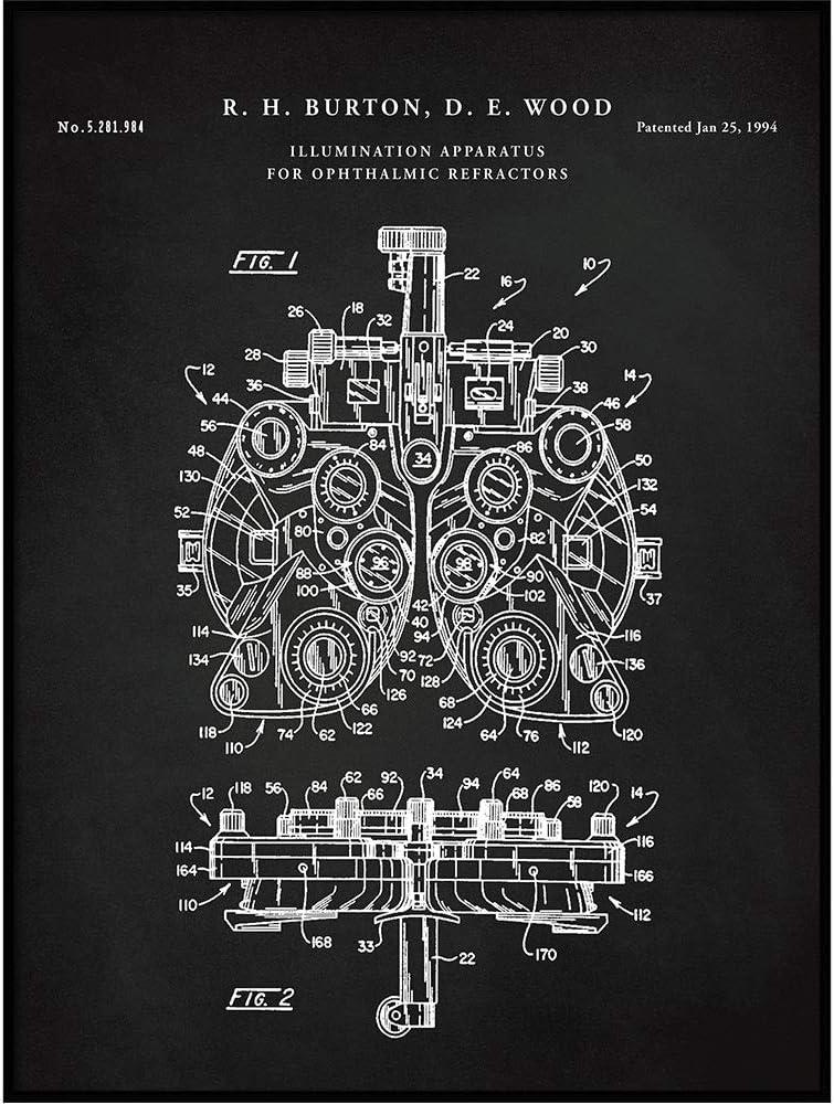 Vintago Phoropter Patent Print, Poster Blueprint Art, Optometry, Eye Clinic Decor, Poster, Eye Docter, Optometrist Gift, Optometry Gifts, QP595