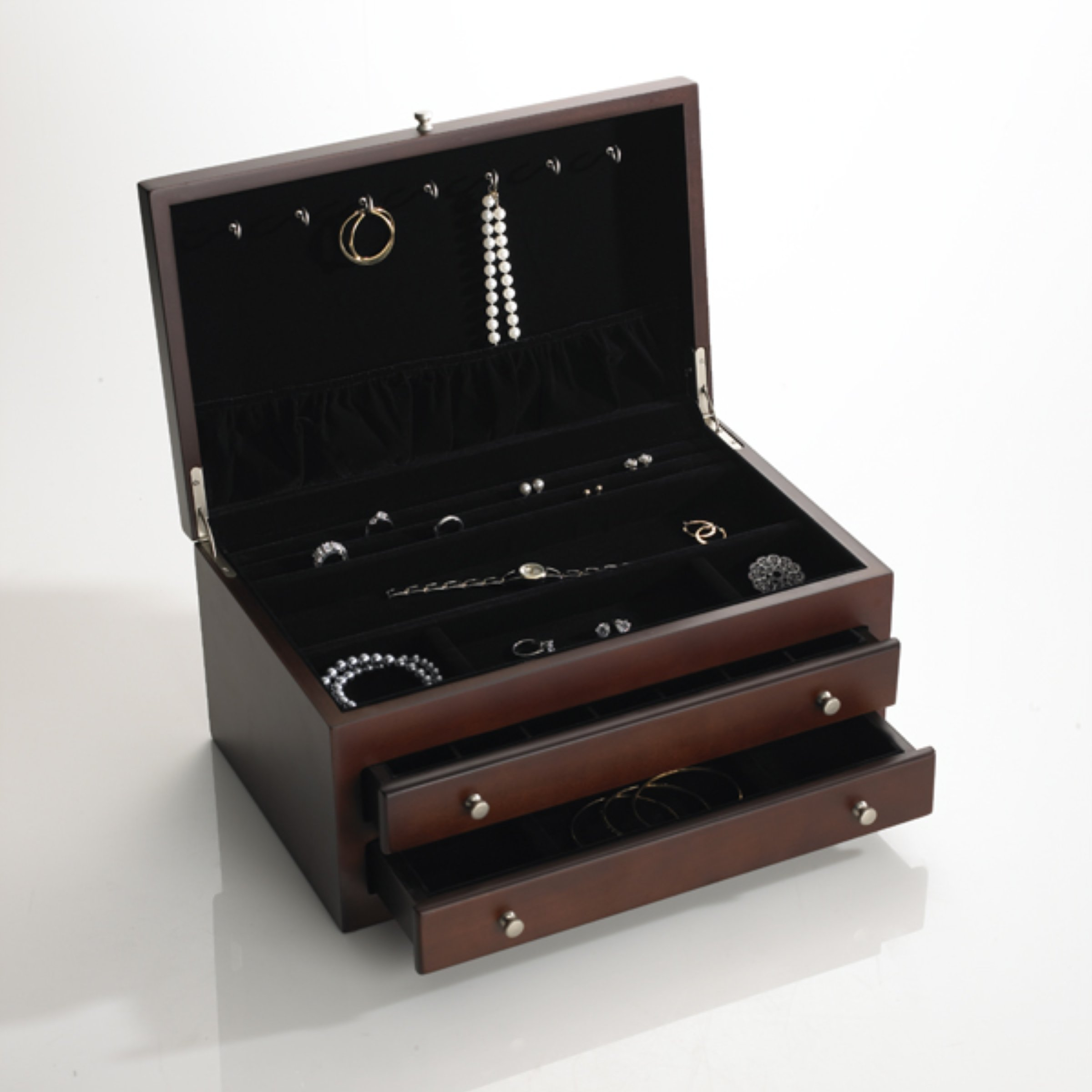 Wallace Large Jewelry Chest with 2 Drawers Dark Walnut by Wallace (Image #2)