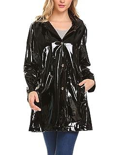 600de6ffd248 ELESOL Women s Casual Button Front Hooded Raincoat Packable Waterproof Rain  Jacket