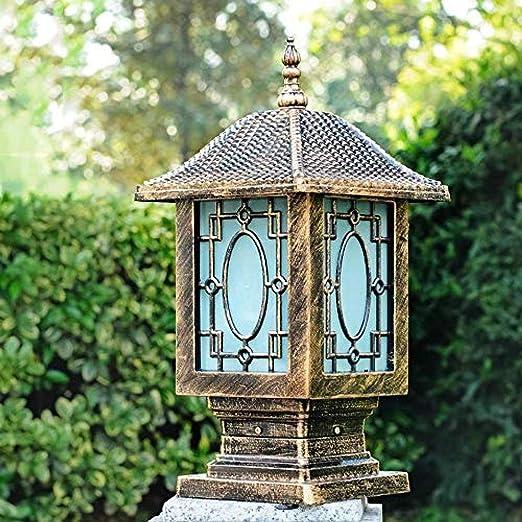 Faros de columnas coloniales con diseño de vidrio, puertas de jardín, lámparas de columna, acceso Transition E27, iluminación de escritorio-Blackh43cm: Amazon.es: Iluminación