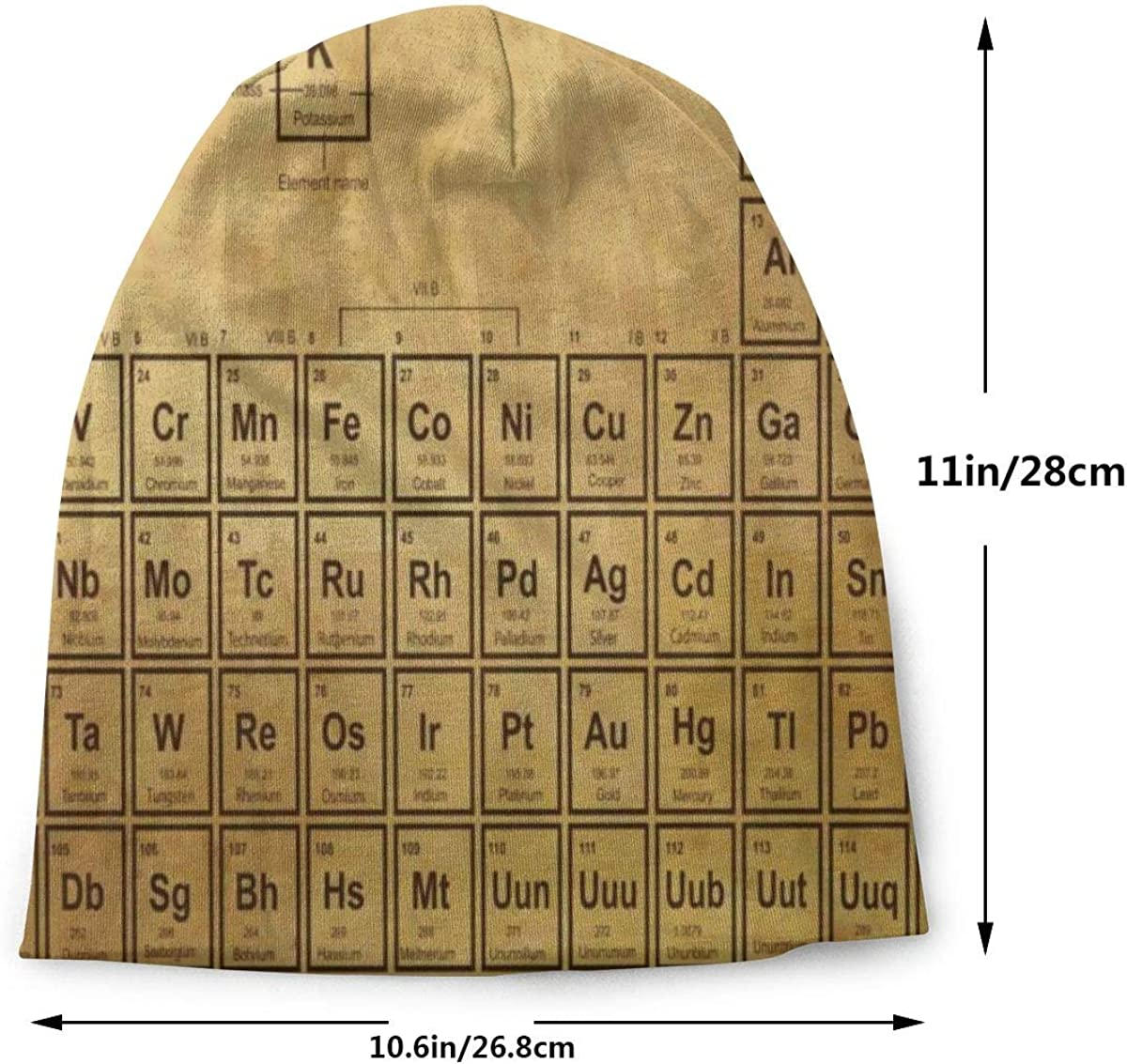Vintage Periodic Table Oh Elements Beanie for Men Women Soft Slouchy Skull Cap Warm Stretchy Plain Cuff Knit Hats Unisex Black