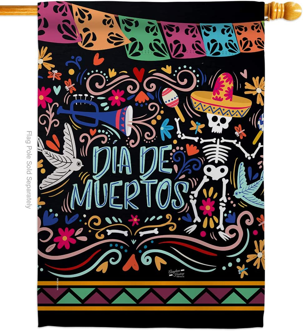 Angeleno Heritage Colorful Dia de Muertos House Flag Fall Day of Dead Los Fiesta Mexican Party Autumntime Decoration Banner Small Garden Yard Gift Double-Sided, Thick Fabric, Made in USA