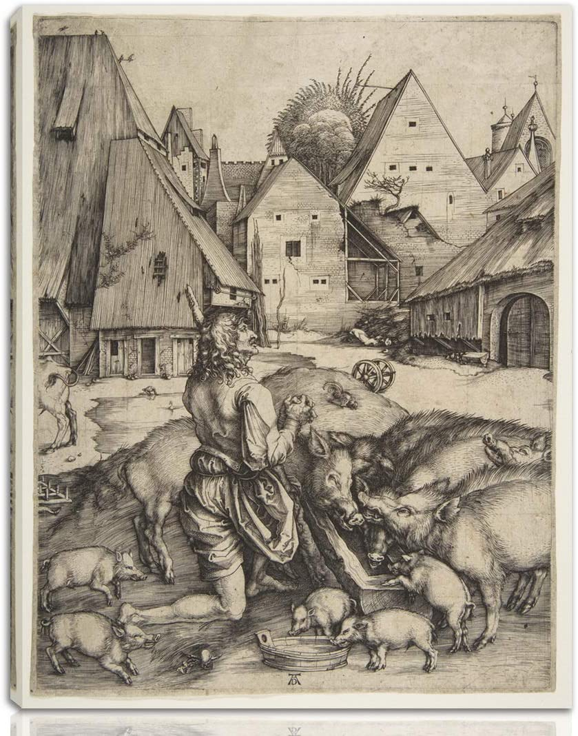 Berkin Arts Albrecht Durer Stretched Giclee Print On Canvas-Famous Paintings Fine Art Poster-Reproduction Wall Decor Ready to Hang(The Prodigal Son)#NK