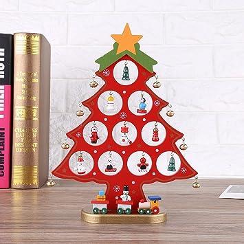 OULII Dibujos animados bricolaje madera árbol de Navidad decoración Navidad regalo adorno escritorio decoración de la mesa (rojo): Amazon.es: Bricolaje y herramientas