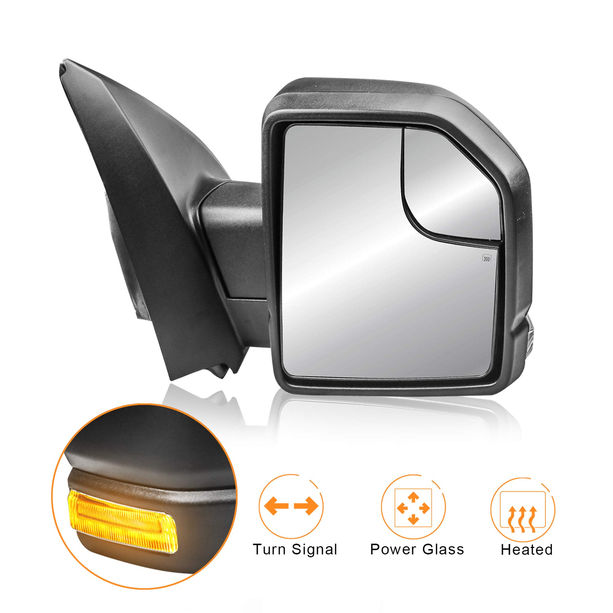MOSTPLUS Right RH Passager Power Heated Towing Mirrors for Ford F150 2015 2016 2017 w/Turn Signal-8-Pin Plug (Right Side Mirror) by MOSTPLUS