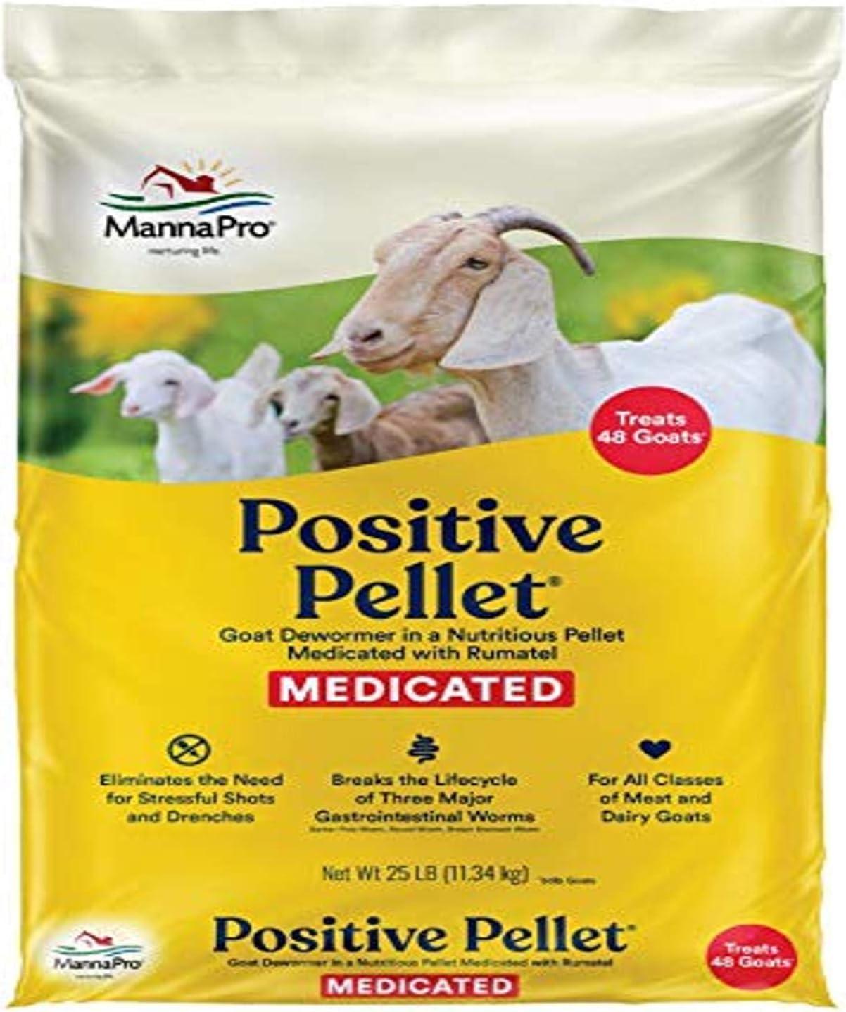 Manna Pro Positive Pellet Medicated Goat Dewormer, 25-Pounds