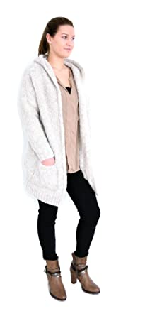 167d0eaddc t*fd Lindsay Damen Strick Jacke Kapuze Boucle Optik Long Mantel Cardigan  Weste M L XL