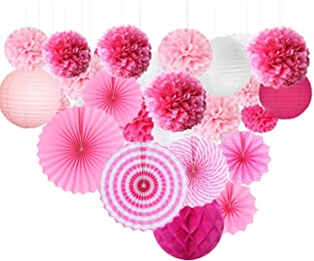 amazon com pink paper party decoration kit tissue paper pom poms rh amazon com