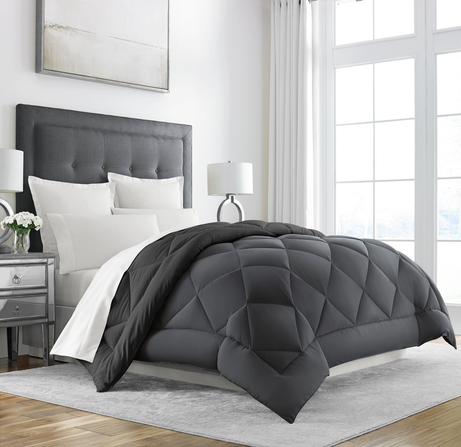Sleep restoration goose down alternative comforter reversible all season hotel quality luxury hypoallergenic comforter king cal king grey black