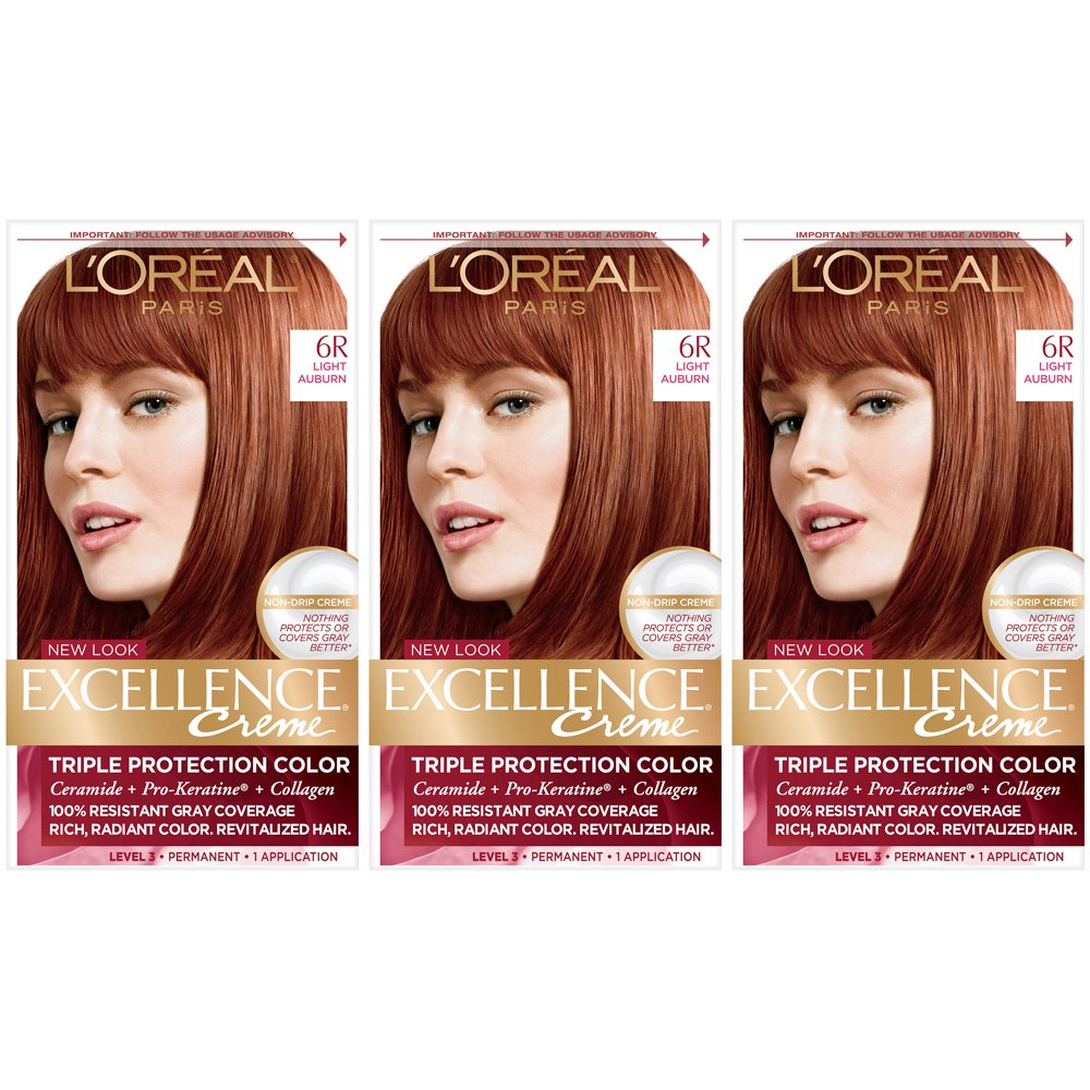 L'Oreal Paris Excellence Creme Permanent Hair Color, 6R light Auburn (Pack of 3) by L'Oreal Paris