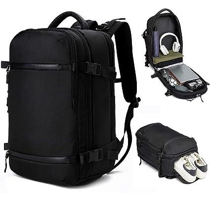 0fae3dfb4991 OZUKO 17-inch Laptop Backpack Waterproof Travel Bag Multipurpose Camp  Hiking Knapsack Rucksack for Women and Men (45L-Black)
